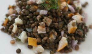 Salade de lentilles au haddock, citron et aneth