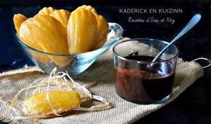 Madeleines glacées au citron, vanille, cœur de miel et sauce chocolat de Michalak