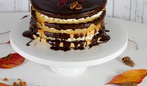 Gâteau nu à la banane, aux noix de pécan et au chocolat