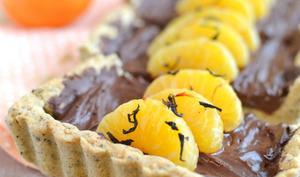 Tarte à la mousse au chocolat, thé bergamote et mandarine