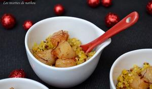 Saint-Jacques caramélisées à la vanille et clémentine, quinoa-boulgour au safran