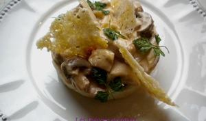 Emincés de dinde aux champignons et purée de pommes de terre aux échalotes confites