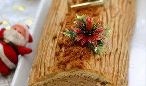 Bûche à la crème de mascarpone, spéculoos et pommes caramélisées