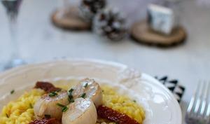 Risotto de Saint-Jacques au safran et tomates séchées