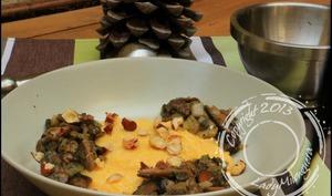 Polenta crémeuse à la noisette et beaufort et sa poêlée de champignons