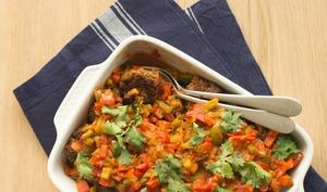 Aubergines frites et ses keftas aux tomates
