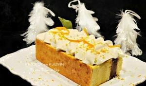 Gâteau de fêtes vanille, tonka, chocolat gianduja et chantilly à l'orange