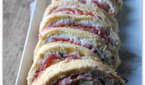 Gâteau roulé au saumon, ricotta et tarama