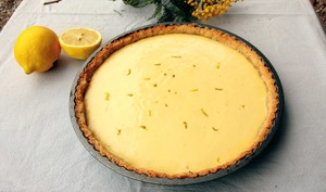 Tarte aux deux citrons et basilic, pâte croustillante à la noisette