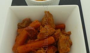 Sauté de porc aux carottes et au chorizo et son écrasée de patates douces