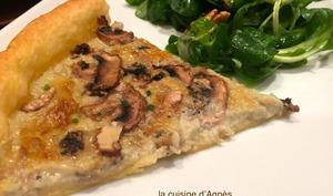 tarte à la fourme d'Ambert et aux champignons