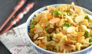 Riz camarguais aux légumes et sauce soja