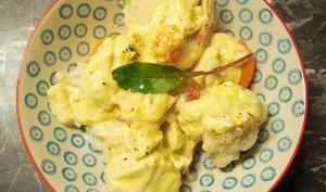 Crevettes et dos de cabillaud à la crème de coco.
