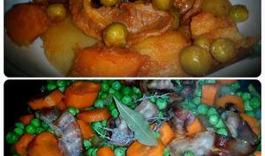 Petits pois carottes à la sauce tomates