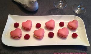 Macarons Coeurs à la crème de chocolat blanc et framboises