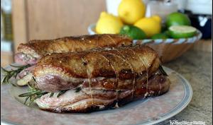 Roti de magrets de canard au romarin et navets glacés au miel et au thym