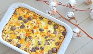 Clafoutis épicé de butternut, châtaigne et chèvre