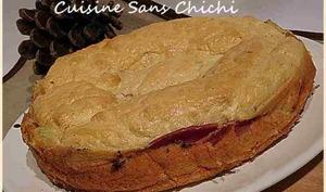 Gâteau raclette au jambon.