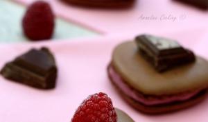 "Macarons ""coeur"" au chocolat et framboise"