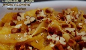 Tagliatelles de crêpes Pommes caramélisées Noix de pécan