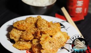 Crevettes au miel et graines de sésame