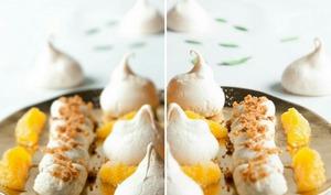 Dessert à l'assiette : suprêmes d'orange, meringues, chantilly à la vanille et miettes de spéculoos