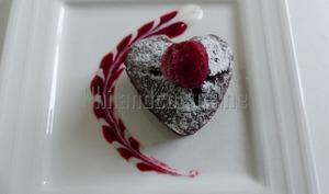 Cœur fondant chocolat framboise à la compote de pomme