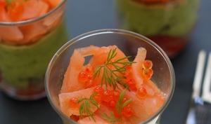Verrines au saumon, avocat et tomate