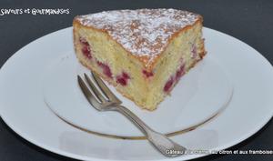 Gâteau à la crème, framboises et citron vert