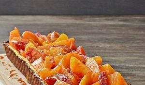 Tarte à la crème, oranges sanguines et caramel