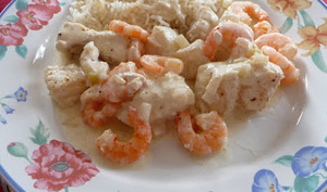 Médaillons de lotte et crevettes à la crème citronnée