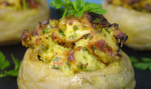 Fonds d'artichauts farcis au curry de poulet