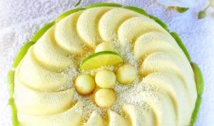 Entremet chocolat blanc, vanille, pomme et citron