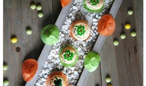 Macarons Shamrock, ganache chocolat noisettes