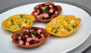 Petites salades colorées à la betterave-pomme et à la mangue-ananas...