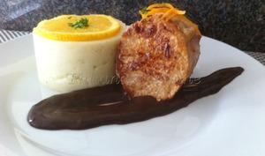 Médaillon de veau sauce au cacao et à l'orange et sa purée vanillée