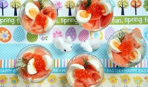 Verrines oeuf de caille et saumon pour Pâques