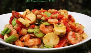 Salade crevettes, fèves, poivrons et autres