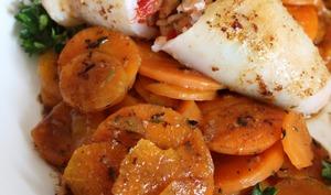 Calamars farcis aux encornets, crevettes et jambon serrano
