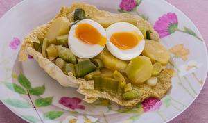 Salade de pomme de terre et poireaux aux oeufs