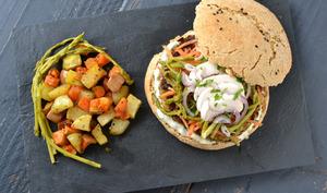 Burgers véganes tempeh, poireaux, asperges