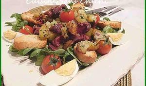 Salade aux gésiers confits et pommes de terre.