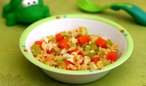 Blésotto au poulet, carotte et courgette