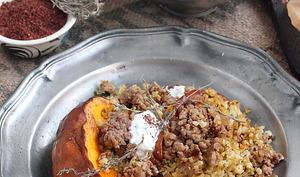 Courge rôtie et boulgour aux épices