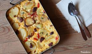 Clafoutis de pommes de terre et chorizo