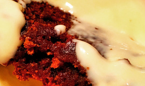 Fondant chocolat caramel sans farine et sa crème anglaise