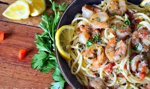 Crevettes sauce au beurre ail et persil