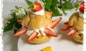 Choux à la mangue et aux fraises fraîches, chantilly crémeuse à la bergamote