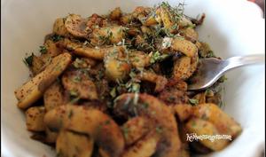Aubergines et champignons sautés au thym frais et sumac