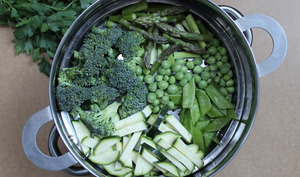 Pâtes à la sauce crémeuse aux légumes verts